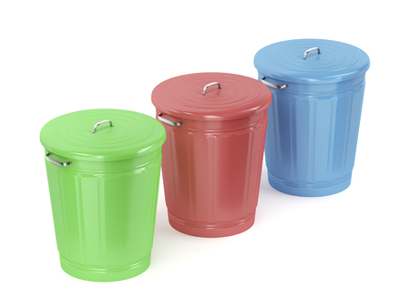 Three metal trash cans with different color on white background Standard-Bild