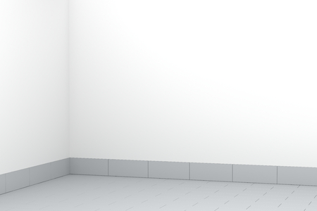 Empty room with tiled floor, 3D illustration