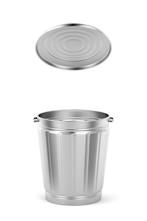Empty silver trash can with lid on white background