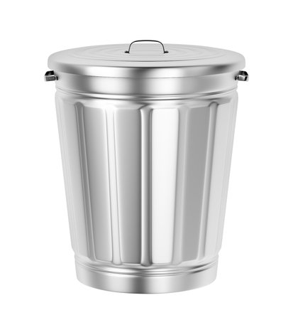 Silver trash can isolated on white background