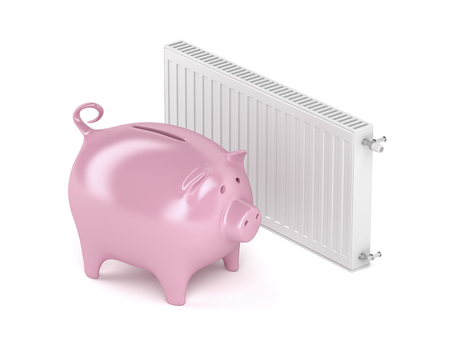 Piggy bank and heating radiator. Concept image for saving money on heating.
