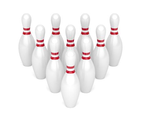 Reihe von Bowling-Pins auf weißem Hintergrund