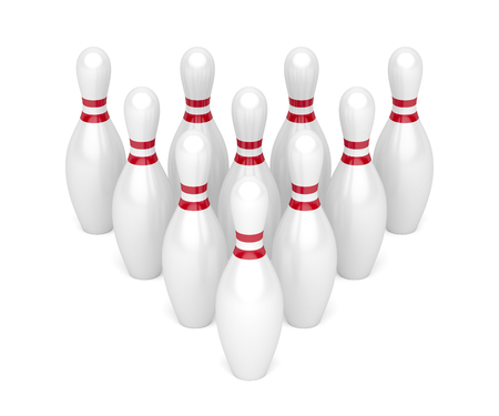 Row of bowling pins on white background 스톡 콘텐츠