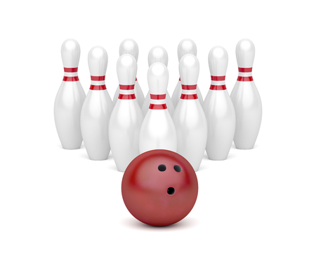 Row of bowling pins and red bowling ball Standard-Bild
