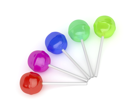 Five lollipops with different colors and flavors on white background