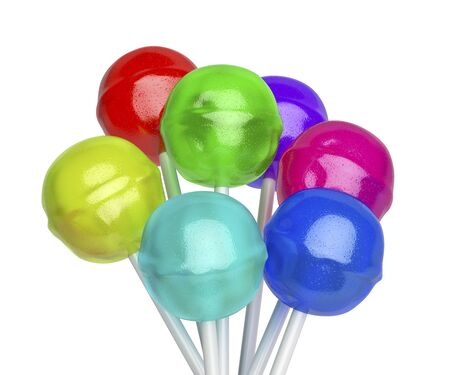 Group of lollipops with different colors and flavors, isolated on white background Imagens - 124959778