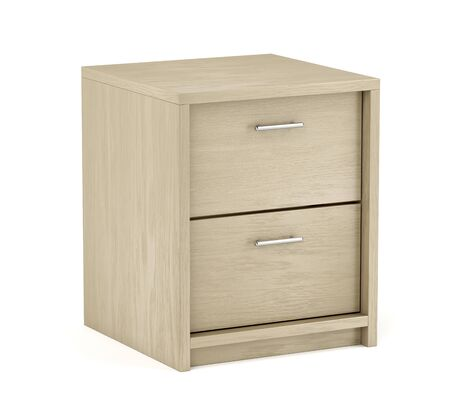 Wooden nightstand with two drawers on white background