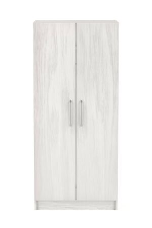 Front view of white wooden wardrobe on white background