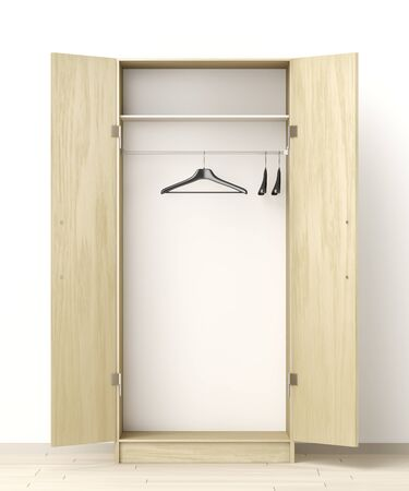 Front view of empty wardrobe in the room Zdjęcie Seryjne