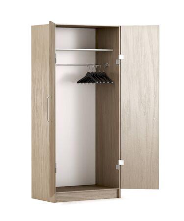 Empty wood wardrobe on white background