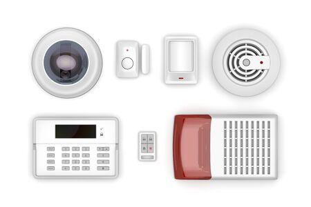 Appareils électroniques de sécurité sur fond blanc, vue de dessus Banque d'images