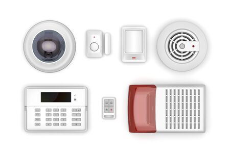 Security electronic devices on white background, top view