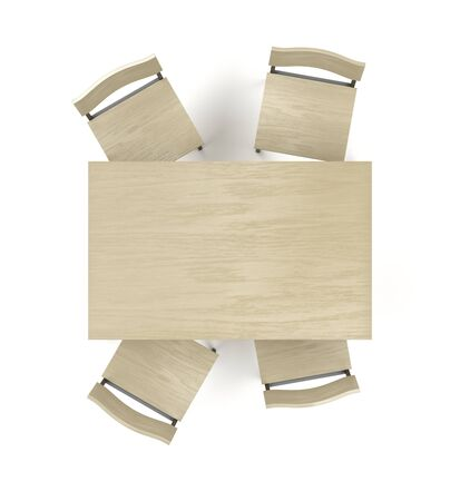 Top view of wood dining table and four chairs on white background