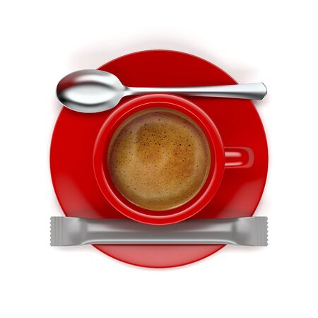 Top view of hot aromatic espresso coffee on white background 写真素材