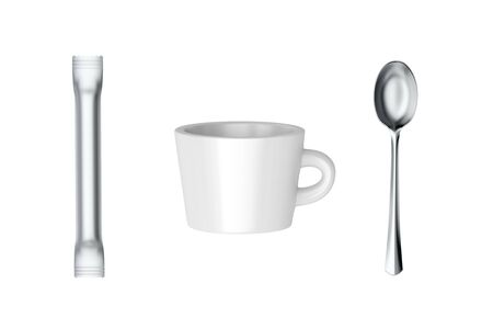 Coffee cup and sachet with sugar or creamer and silver spoon, isolated on white background