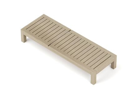 Wooden sunbed on white background