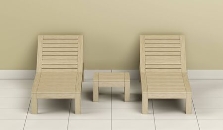 Wooden sun loungers and table in the spa center, front view 写真素材