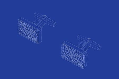 3d wire-frame model of cufflinks 스톡 콘텐츠