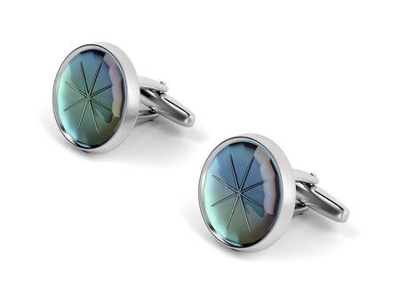 Silver cufflinks with gemstone on white background