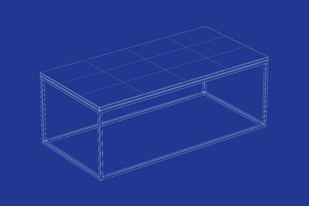 3d wire-frame model of coffee table