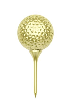 Golden golf ball on tee, isolated on white background Stock Photo