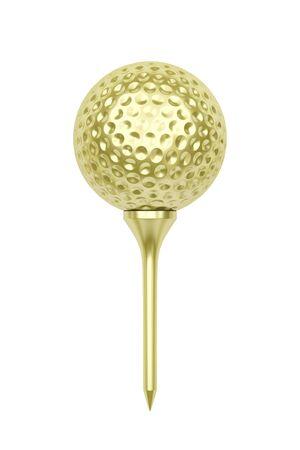 Gouden golfbal op tee, geïsoleerd op een witte achtergrond Stockfoto