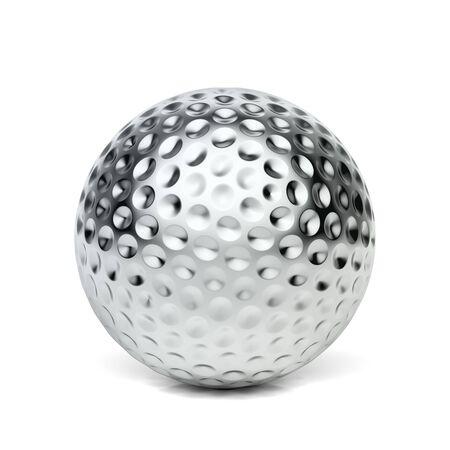 Silberner Golfball auf weißem Hintergrund
