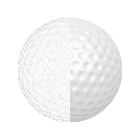 3D render of golf ball with visible wire-frame