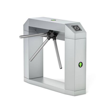 Electronic turnstile on white background