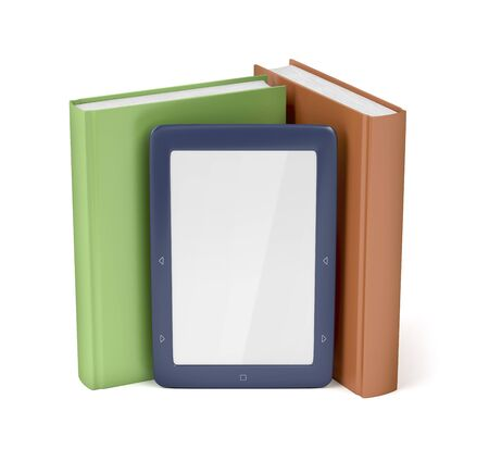 Blue e-reader and two books on white background