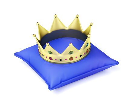 Gold crown on blue pillow Stock Photo
