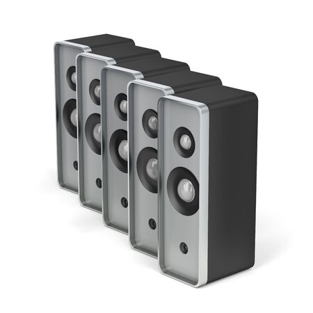 Row with five speakers on white background