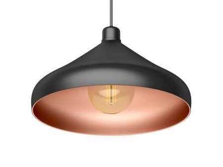 Modern designed pendant lamp with LED bulb, isolated on white background