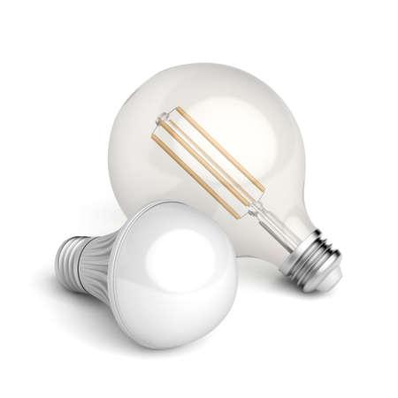 Two different LED light bulbs on white background Zdjęcie Seryjne