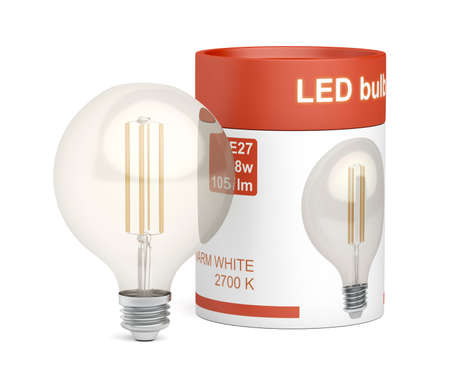 LED bulb with packaging box on white background