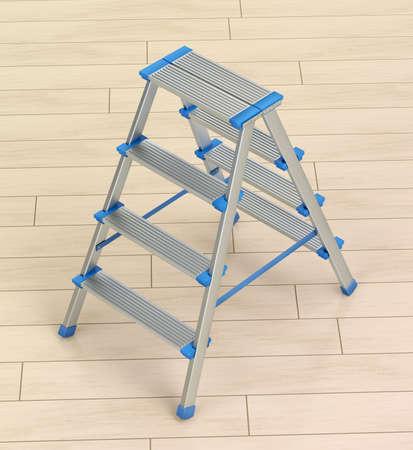 Small aluminum ladder on wooden floor