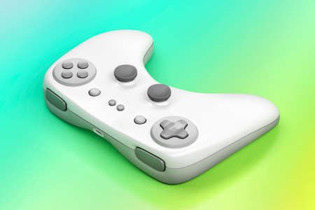 White wireless gamepad on colorful background Stockfoto