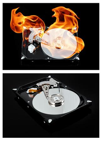 external hard disk drive: Opened external hard drive on fire. Hard disk failure. Data loss concept, computer crash