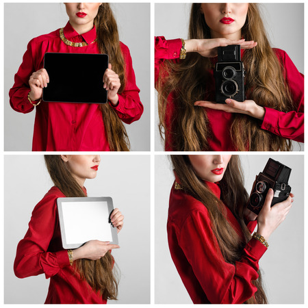 Set of Business woman dressed in red holding and shows touch screen tablet pc with blank screen and old photographic camera closeup photo
