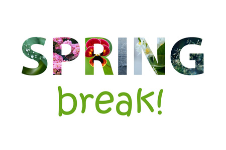 Colorful sign on white background. The words spring break made of colorful spring images inside the letters