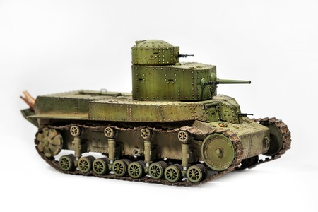 battle tank: Paper model of an old battle tank isolated on white background