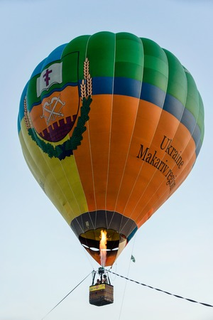 Hot air balloon in the evening sky