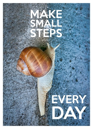 Inspirational quote with words make small steps every day. Large snail crawling on a stone wall Foto de archivo
