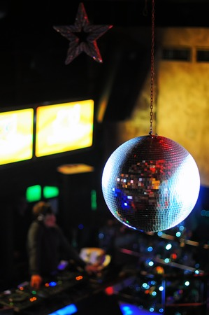 mirrorball: Disco ball at nightclub. Party background. Selective focuse