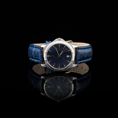 photography background: Swiss watches on black background. Product photography