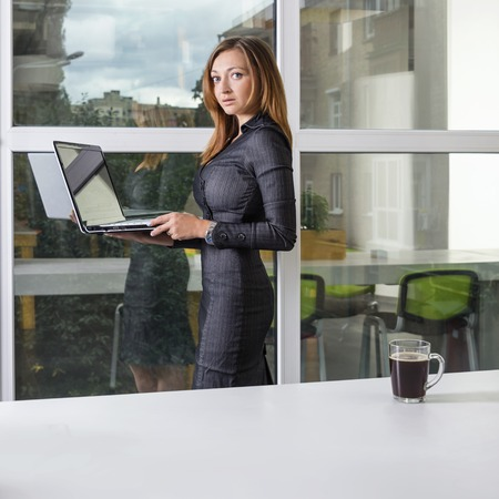 green office: Business, technology and green office concept - young successful businesswoman with laptop computer at office. Woman using tablet computer or having a coffee break