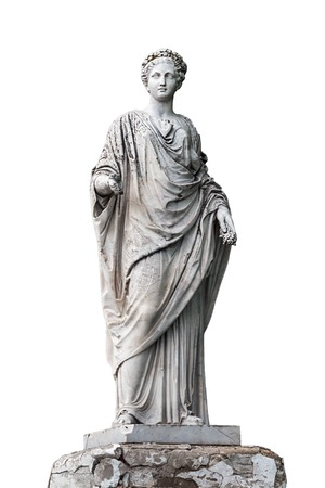 fertility goddess: Marble statue of roman Ceres or greek Demeter isolated on white from the park of the Palace and park complex Estate of G. Galagan. Sokyryntsi village, Ukraine