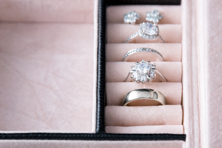 silver jewelry: Jewelry box with white gold and silver rings. Collection of luxury jewelry