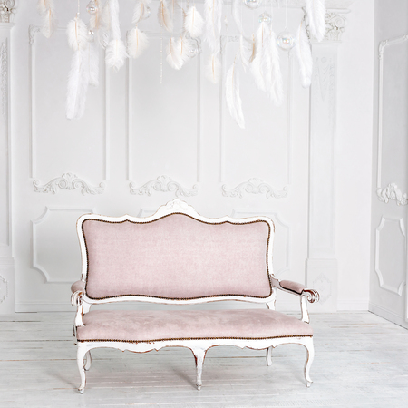 vestibule: Classical white interior with pink sofa and feathers Stock Photo