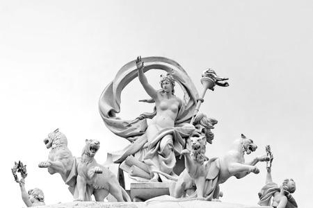 greek goddess: Statue of greek goddess Melpomene in a chariot drawn by four panthers. Opera House, Odessa, Ukraine Stock Photo